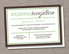 Modern Green Brown Reception Only Wedding Invitations - PRINTED or PRINTABLE on Etsy, $22.00