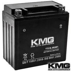 YTX14L-BS KMG Maintenace Free 12 Volt Battery Powersport Sportbikes Cruisers SMF