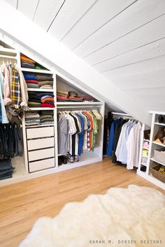 36 ideas bedroom wardrobe ikea closet hacks for 2019 Walk In Closet Ikea, Ikea Closet Hack, Bedroom Closet Doors, Bedroom Closet Storage, Ikea Pax Wardrobe, Attic Wardrobe, Attic Storage, Attic Closet, Closet Hacks