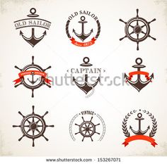 Set of vintage nautical icons, signs and symbols - stock vector