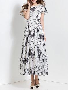Shop Maxi Dresses - Swing Short Sleeve Beach Chiffon Folds Maxi Dress online. Discover unique designers fashion at StyleWe.com.