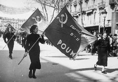 POUM, (Partido Obrero de Unificación Marxista, Workers' Party of Marxist Unification) was a Spanish communist political party formed during the Second Republic and mainly active around the Spanish Civil War. Formed by the fusion of the Trotskyist Communist Left of Spain (Izquierda Comunista de España, ICE) and the Workers and Peasants' Bloc (BOC, affiliated with the Right Opposition) against the will of Leon Trotsky. George Orwell fought for them.