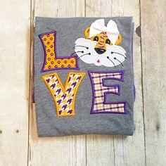 Tiger Love Shirt - Tiger Spirit Shirt - SEC Football - College Gameday - Football Shirt - Girls Tiger Shirt - LSU Tigers - Tiger Football by MonogramParade on Etsy https://www.etsy.com/listing/461882776/tiger-love-shirt-tiger-spirit-shirt-sec