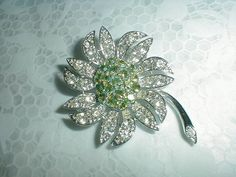 vintage sarah coventry crystal flower by qualityvintagejewels, $43.00
