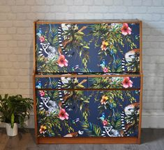 Upcycled Remploy Vintage Retro Mid Century Drinks Cabinet in Navy Lemur Decoupage, Retro Bar, Cocktail Bar, Drinks Bar, Writing Bureau by ThriftysRetro on Etsy Diy Furniture Renovation, Furniture Projects, Upcycled Furniture, Cocktails Bar, Bar Drinks, Writing Bureau, Drinks Cabinet, Art Desk, Flat Ideas