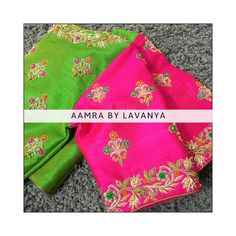 Stunning parrot green and pink color combination designer blouse with floral design hand embroidery detailing. Brocade Blouse Designs, Kids Blouse Designs, Designer Blouse Patterns, Bridal Blouse Designs, Saree Blouse Models, Hand Work Embroidery, Embroidery Designs, Zardosi Work Blouse, Pink Color Combination