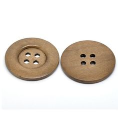 Coffee Color Natural Wooden 4 Holes 50mm Button 10PCS