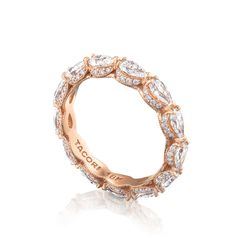 Pear diamond eternity band in rose gold. Pear Diamond, Pear Shaped Diamond, Diamond Bands, Diamond Wedding Bands, Diamond Cuts, Wedding Rings, Diamond Girl, Rose Gold Eternity Band, Eternity Bands