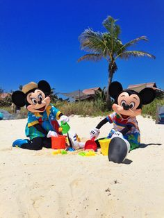 Mickey and Minnie Mouse at Castaway Cay: this is Disney's private island for their Caribbean cruises.