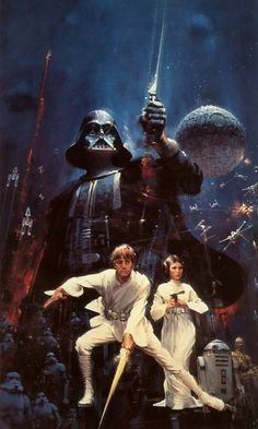 John Berkey - an amazing Star Wars poster that I had as a folder. Yeah, it was awesome and I was sad when it ripped and had to be replaced.