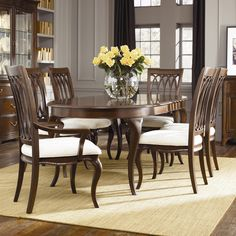 Cherry Grove Oval Table with Slat Back Chairs by American Drew