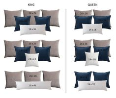 I am breaking down all thing's decorative pillows, including a sizing chart for pillow inserts, & a how-to guide on styling pillows using the correct sizes. Green Pillows, Large Pillows, Decorative Pillows For Couch, Modern Bed Pillows, Large Couch Pillows, Dyi Pillows, Contemporary Pillows, Patio Pillows, Accent Pillows