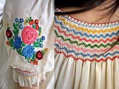 Vintage 70s Hungarian Embroidered Peasant Blouse by PrismOfThreads