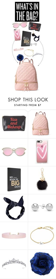 """Whats in the bag"" by zaria-costley ❤ liked on Polyvore featuring MICHAEL Michael Kors, Casetify, Furla, Boohoo, Jewelonfire, Humble Chic and Missoma"