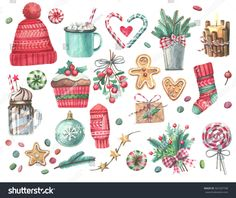 Set of Christmas decorations. Watercolor elements on a white background.