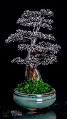 SOLD- Shari Deadwood Bonsai Tree Sculpture in Green Pot – Unique Wire Tree Sculptures