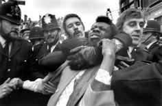 London. Race Riots in Peter Marlow - Lewisham. Police making an arrest. 1977.