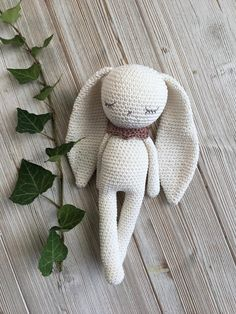 Amigurumi animal - Lovely crochet amigurumi long ear bunny with collar, perfect soft cuddly toy for your child. ***This is MADE-TO-ORDER. **** Size: The size is about 28 cm (11 inches) ears 16 cm (6,2 inches) Eyes: You can choose between sleepy or embroidered open or safety eyes (