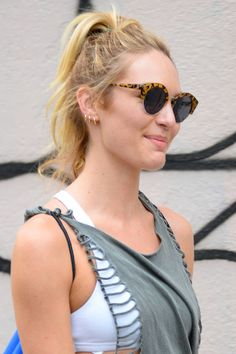 Get the high ponytail like Candice Swanepoel
