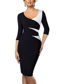 HOMEYEE Women's Elegant Chic Formal Sleeve Sheath Business Career Dress at Women's Clothing store: I Dress, Dress Outfits, Fashion Dresses, Sexy Outfits, Cheap Dress, Dress Clothes, Casual Clothes, Business Outfit Frau, Work Chic