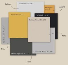 Mustard yellow, light grey blue and slate color scheme