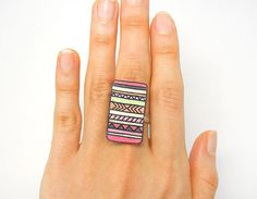 $18 Tribal Ring - Free shipping, Pastel pink, Aztec jewelry, Navajo, Geometric ring, Rectangle Oversize ring, Platinum plated ring (pp14r)