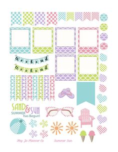 Summer Sun Printable | Printable Planner Stickers | Sized for Erin Condren | Pastel Color Stickers by HeyJoPlannerCo on Etsy