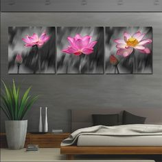 3 Panneau moderne Peinture Accueil Arts décoratifs Photo Peinture sur toile lotus Prints Charming était sous la pluie