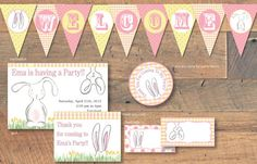 $39.00 Easter Bunny Birthday Decorations Customizable colors on Etsy