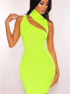 01240bd5a36 JurllySHe Neon Color Mock Neck Cut Out Cami Dress