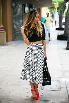 Sandy Retro Checkered Skirt