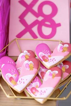 Fall in love with this fab Galentine's day party! The heart cookies are fab! See more party ideas and share yours at Catchmyparty.com #catchmyparty #partyideas #galentines #gals #galentinesdayparty #galentinesday #cookies