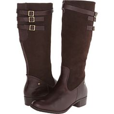 Hush Puppies Leslie Chamber Dark Brown WP Leather/Suede - 6pm.com