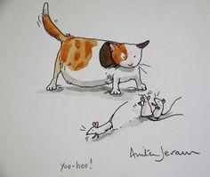 Illustration by Anita Jeram Cartoon Pics, Cartoon Drawings, Animal Drawings, Funny Illustration, Ink Illustrations, Anita Jeram, Penny Black Stamps, Cat Character, Wow Art