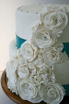 Fondant cake by Sucré Seattle #fondant #anniversary #weddingcake #beautifulcake
