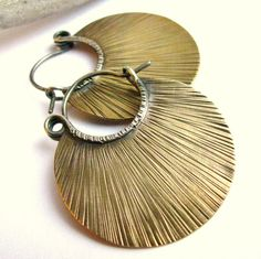 Rustic Brass Earrings, Bronze Hoops, Hoop Earrings Bronze Earrings Mixed Metal Medium Large Hoops, Metal Work Jewelry, Nu Gold Earrings