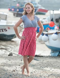 Frugi Smocked Nursing Dress - Anchor/Sea Stripe - Frugi