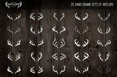 25 Vintage, Hand Drawn Antlers - Icons