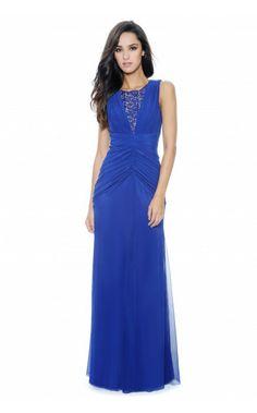 Decode 192111, lace neckline blueberry evening dress Picture