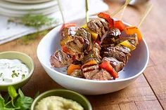 European Lamb Kebabs Recipe with Easy Aubergine Caviar and Yogurt Mint Sauce from Lamb Kebabs, Caviar D'aubergine, Donut Maker, Beef Pot Roast, Eastern Cuisine, Low Carb Pizza, Creative Food, Chinese Food, Food To Make