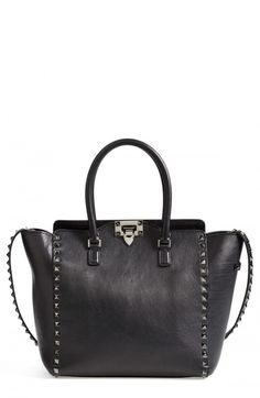7ffb3f6076 Valentino Women s Rockstud Noir Double Handle Leather Tote