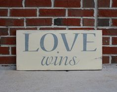 Love Wins Distressed Sign in Cream with Grey Letters Vintage Style for the Monkees at Momastery - large size