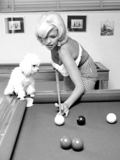 Jayne Mansfield playing pool