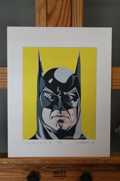 "11""x14"" Limited Edition Hand Signed Michael Keaton Batman MATTED PRINT by JMatthewWelker.  Only 333 ""In The Year Of Our Bat 1989"" prints exist. Each print is hand signed and numbered by the artist.  Mat measures 11""x14"". Print measures 8""x10"". Mounted on 3/16"" foam core board.      Ready to pop right into an 11""x14"" frame! Batman Pop Art, Superhero Pop Art, Batman Vs, Michael Keaton Batman, Ants Marching, Batman Painting, Pop Art Posters, Tim Burton, Album Covers"