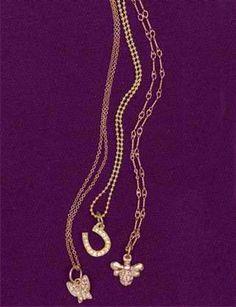 Helen Ficalora Pavé Gold Necklaces: butterfly, horseshoe, bee
