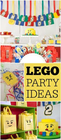 Such a fun and colorful Lego party! See more party ideas at CatchMyParty.com!