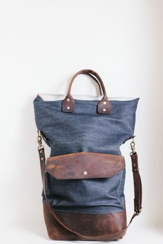 Fold-Top Leather Messenger Bag in Blue