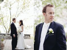 white flowers for groom's bouttonieres - Elegant Cambridge Mill Wedding | Cidalia and Greg