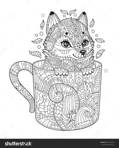 Fox in cup. Adult antistress coloring page with animal in zentangle style. Vector illustration for T-shirt print, tattoo, logo, floral design elements. Line art. Zendoodle.