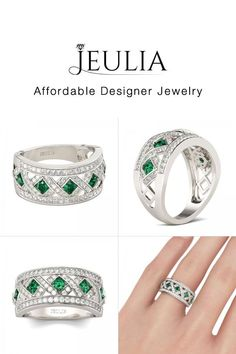 Jeulia offers premium quality jewelry at affordable price, shop now! Emerald Green Stone, Game Gem, Womens Wedding Bands, Anniversary Bands, Artisan Jewelry, Necklace Lengths, Natural Gemstones, Silver Rings, Wedding Rings